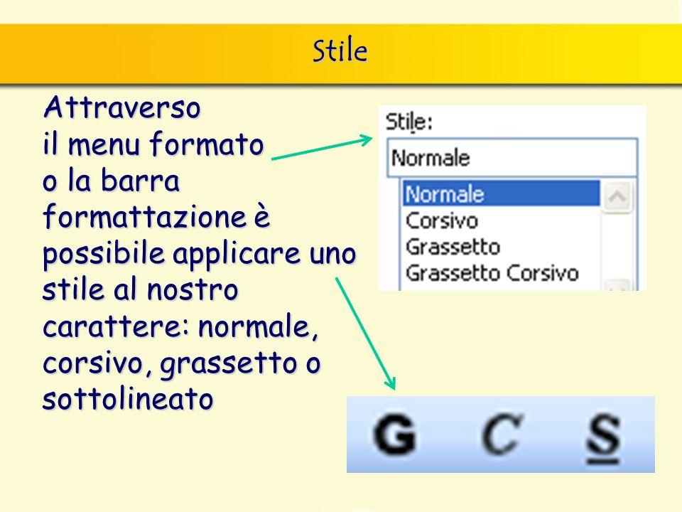 Stile Attraverso il menu formato