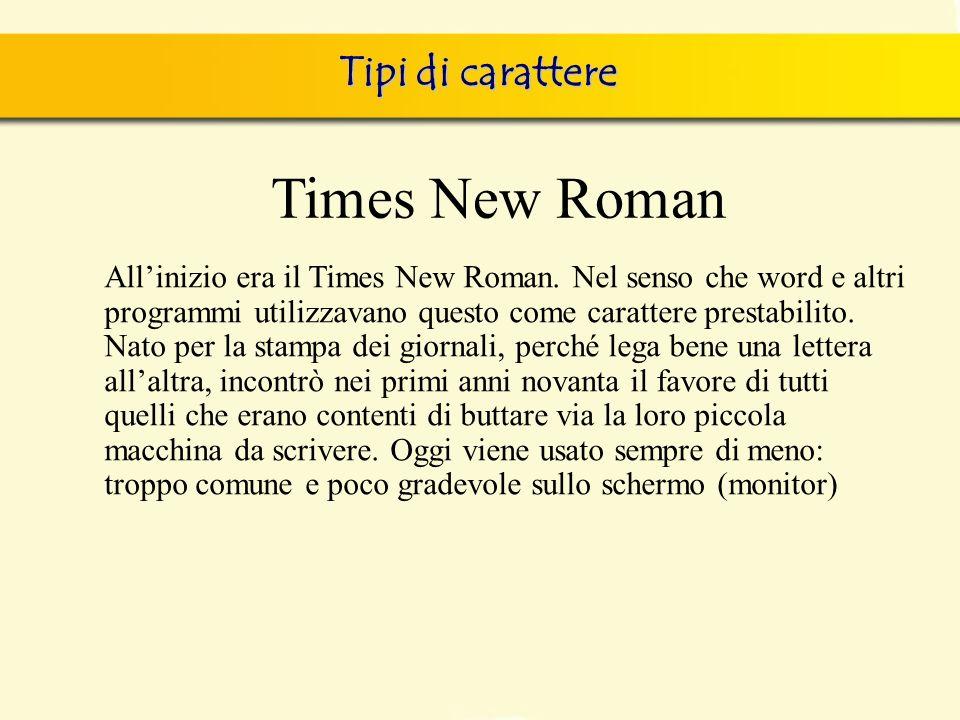 Times New Roman Tipi di carattere
