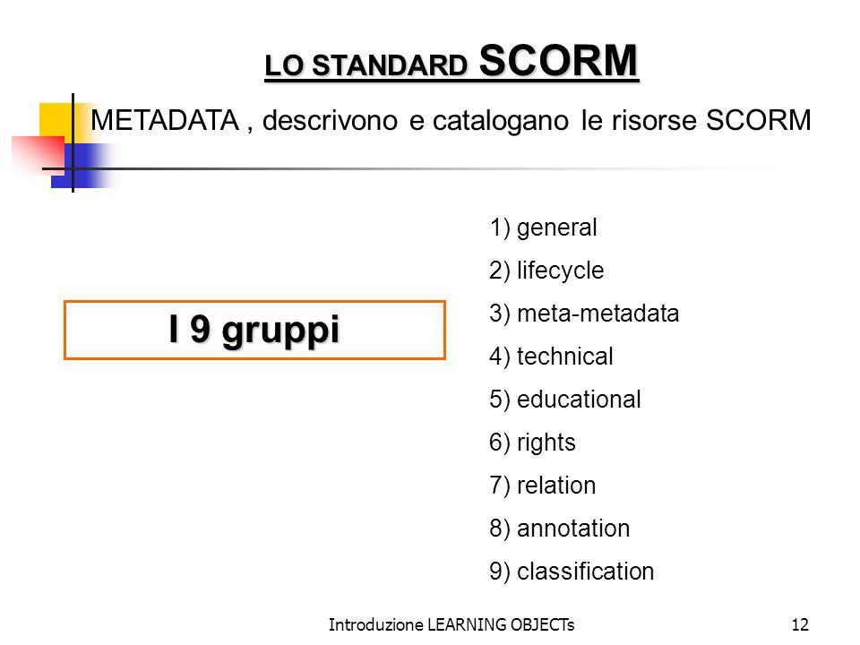 I 9 gruppi LO STANDARD SCORM