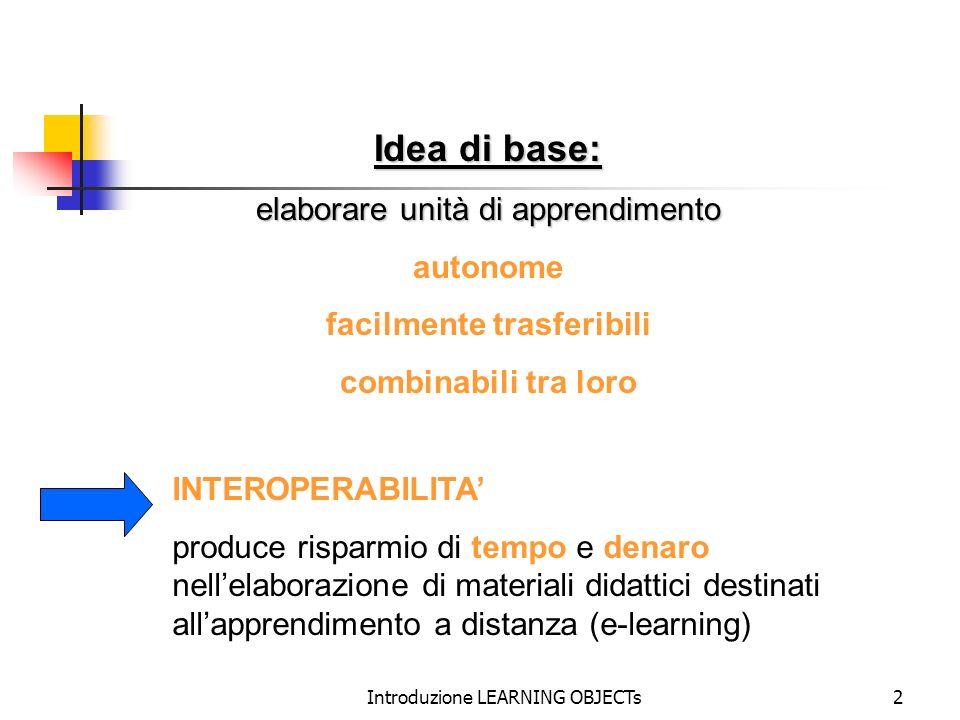 Idea di base: elaborare unità di apprendimento autonome