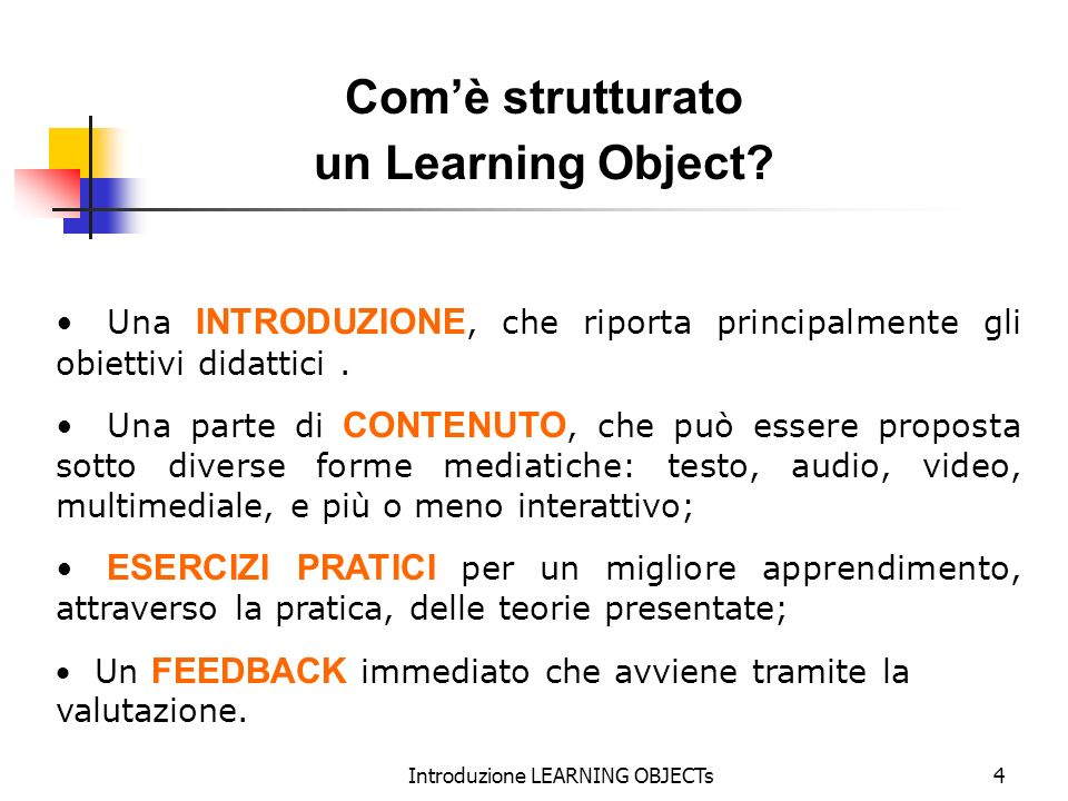 Introduzione LEARNING OBJECTs