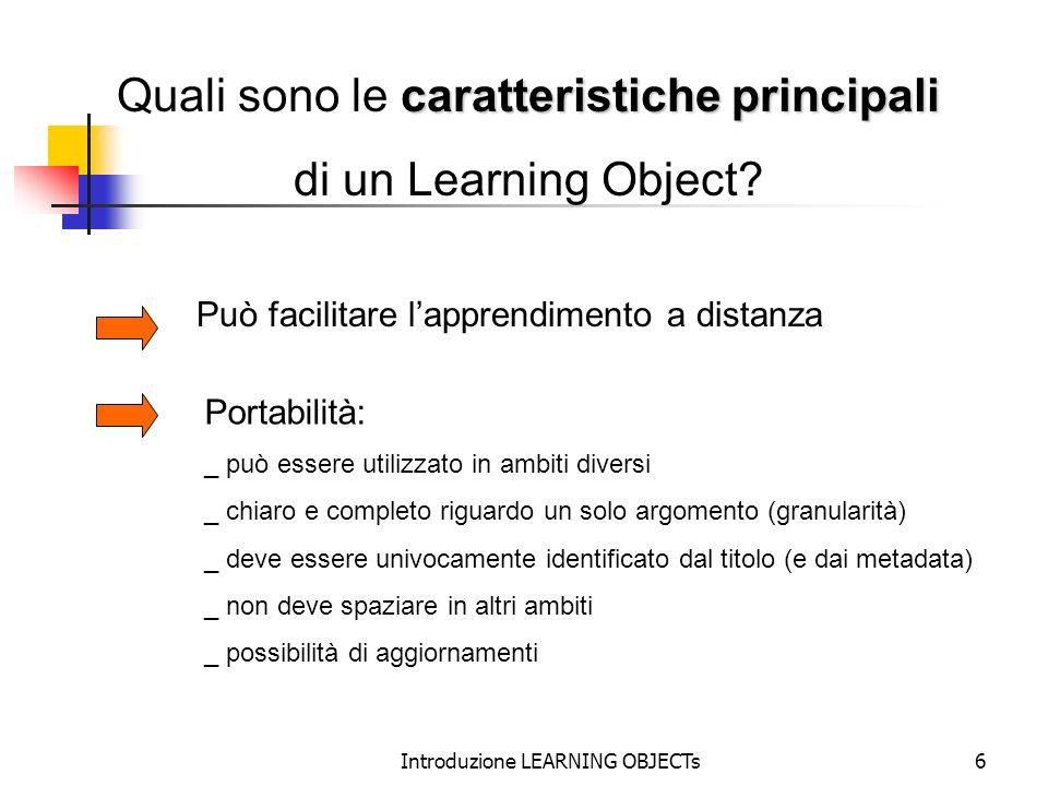 Quali sono le caratteristiche principali di un Learning Object