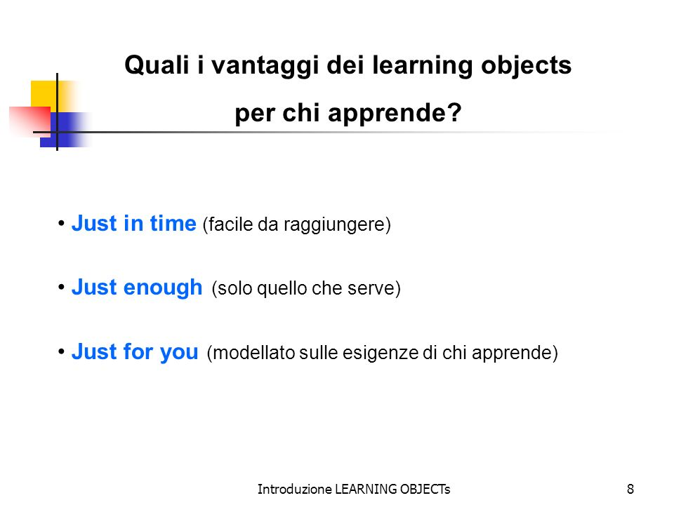 Quali i vantaggi dei learning objects