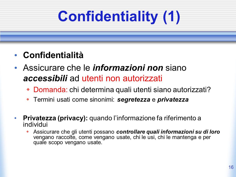 Confidentiality (1) Confidentialità