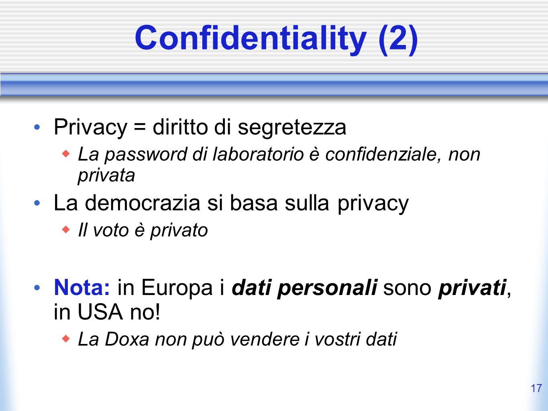 Confidentiality (2) Privacy = diritto di segretezza