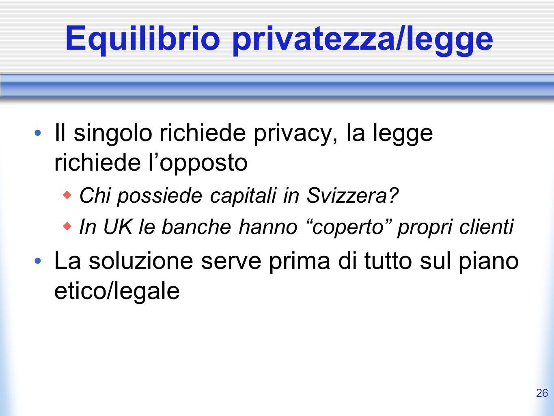 Equilibrio privatezza/legge
