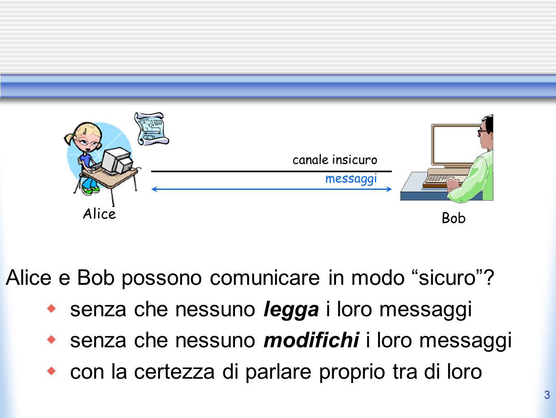 Alice e Bob possono comunicare in modo sicuro