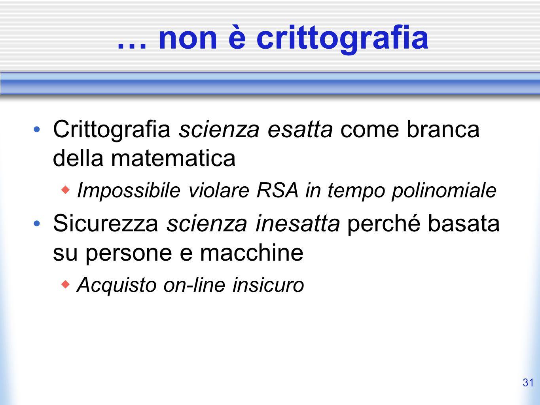 … non è crittografia Crittografia scienza esatta come branca della matematica. Impossibile violare RSA in tempo polinomiale.