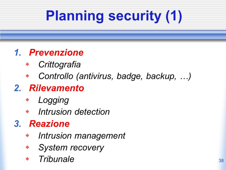 Planning security (1) Prevenzione Rilevamento Reazione Crittografia