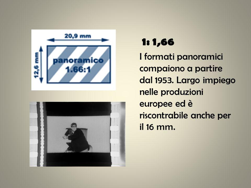 1: 1,66 I formati panoramici compaiono a partire dal 1953