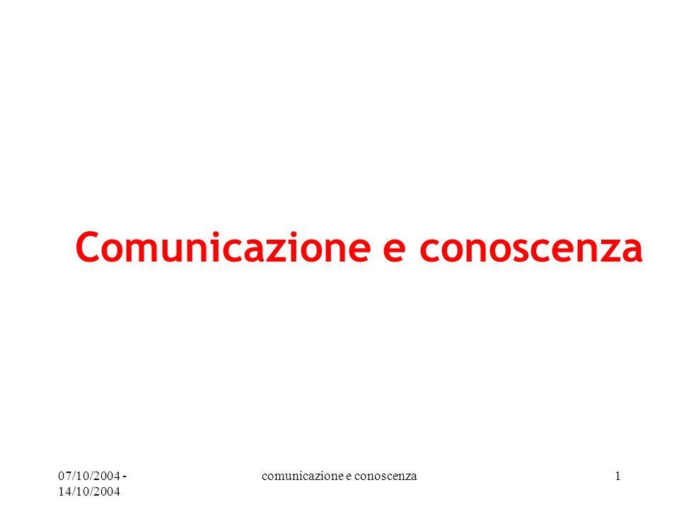 Comunicazione e conoscenza