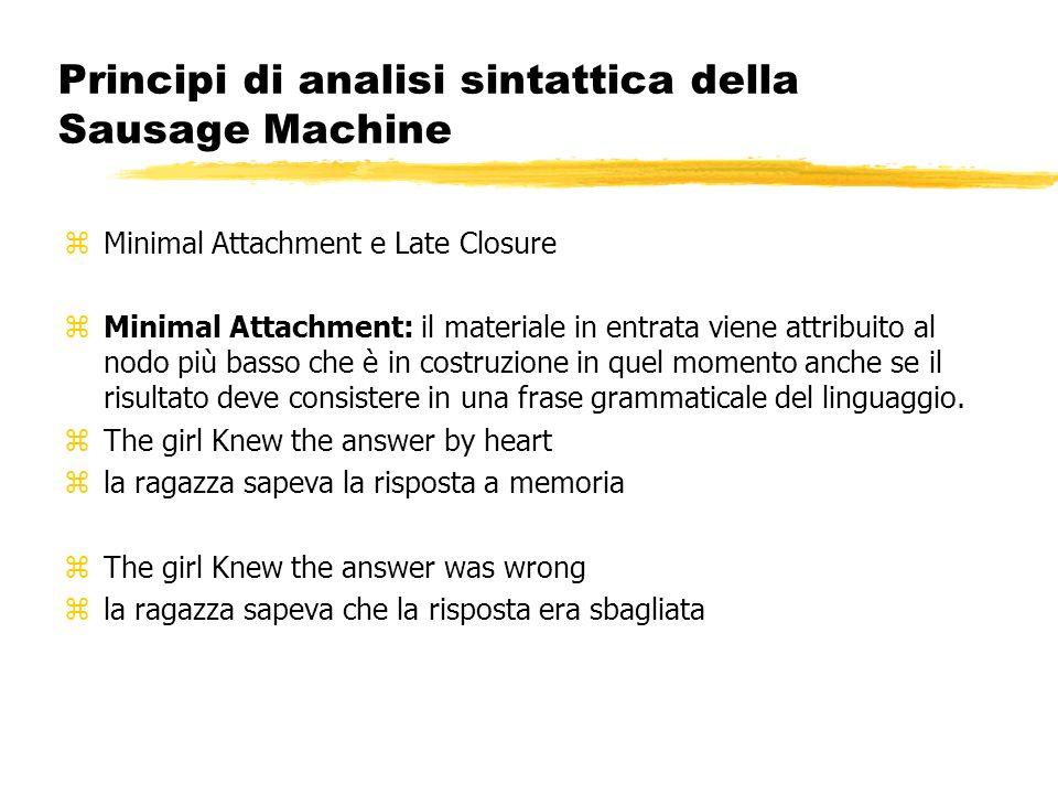 Principi di analisi sintattica della Sausage Machine