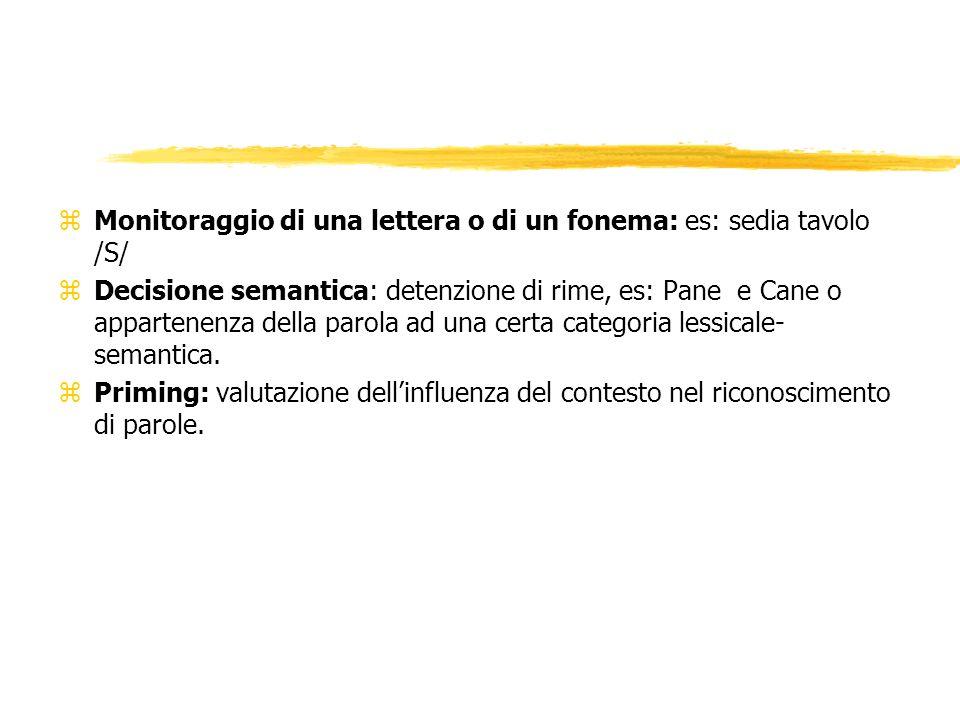 Monitoraggio di una lettera o di un fonema: es: sedia tavolo /S/