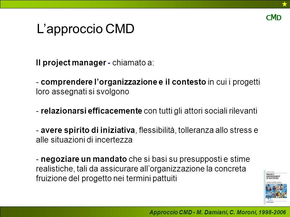 L'approccio CMD CMD Il project manager - chiamato a: