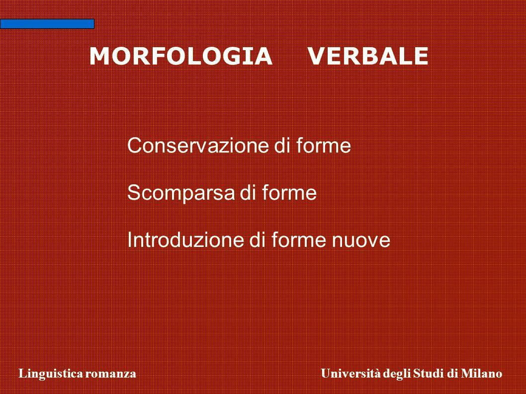 MORFOLOGIA VERBALE Conservazione di forme Scomparsa di forme