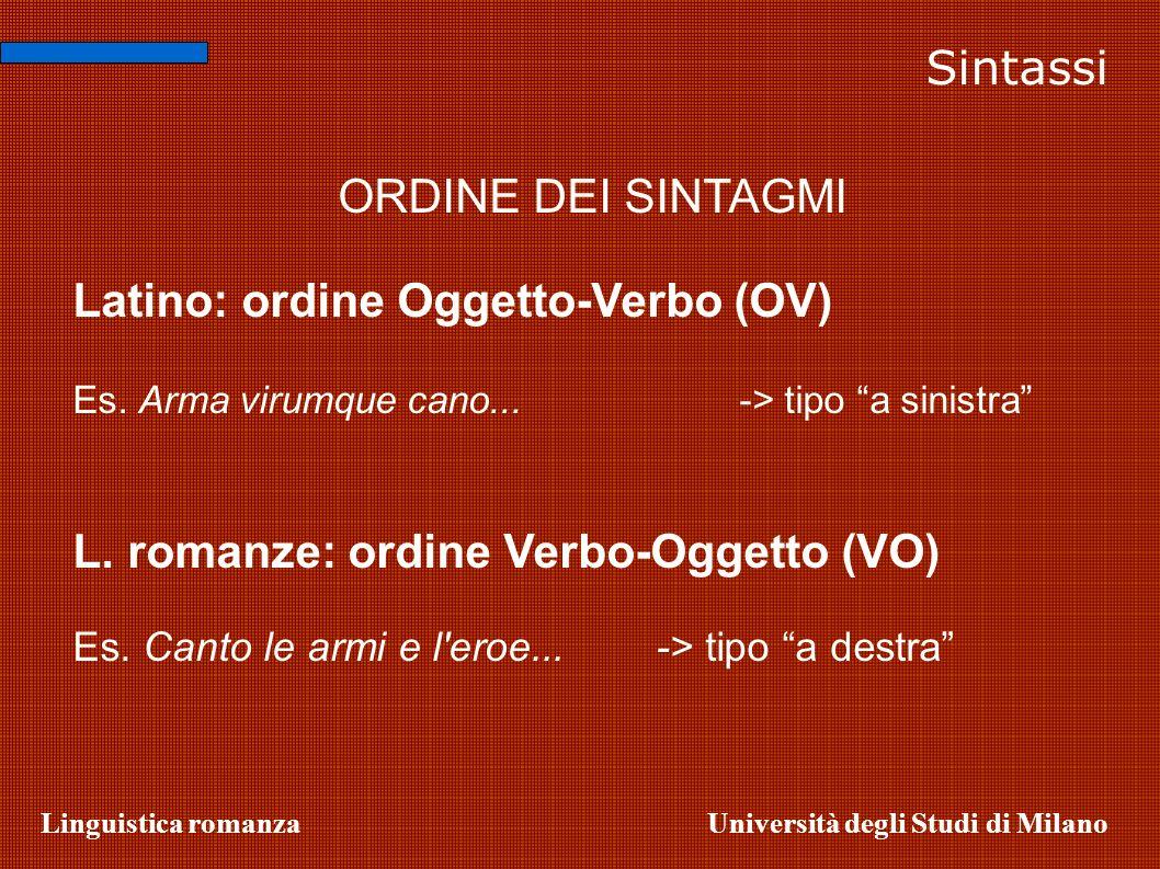 Latino: ordine Oggetto-Verbo (OV)