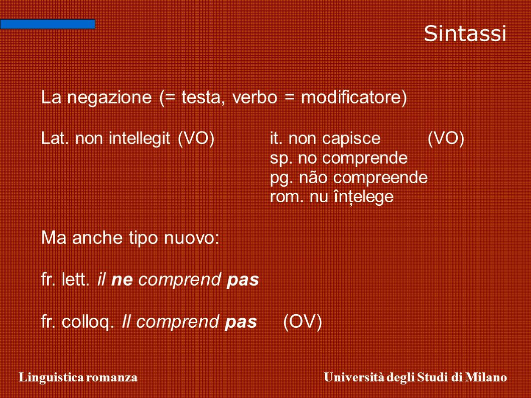 Sintassi La negazione (= testa, verbo = modificatore)