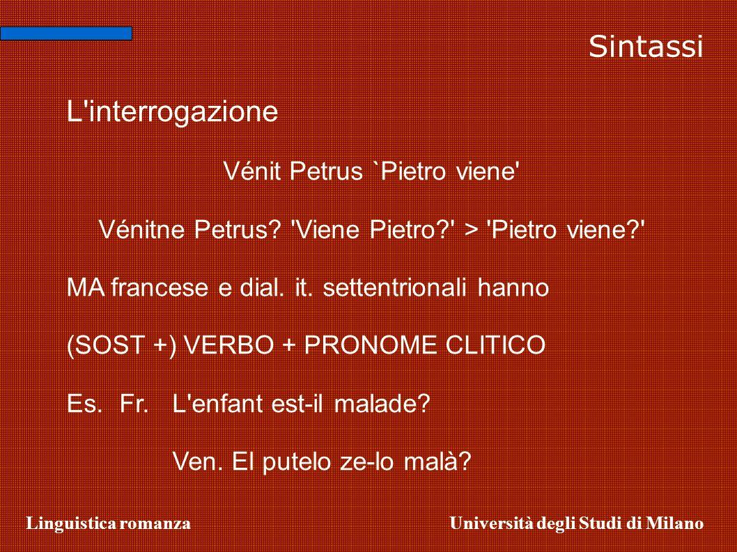 Sintassi L interrogazione Vénit Petrus `Pietro viene