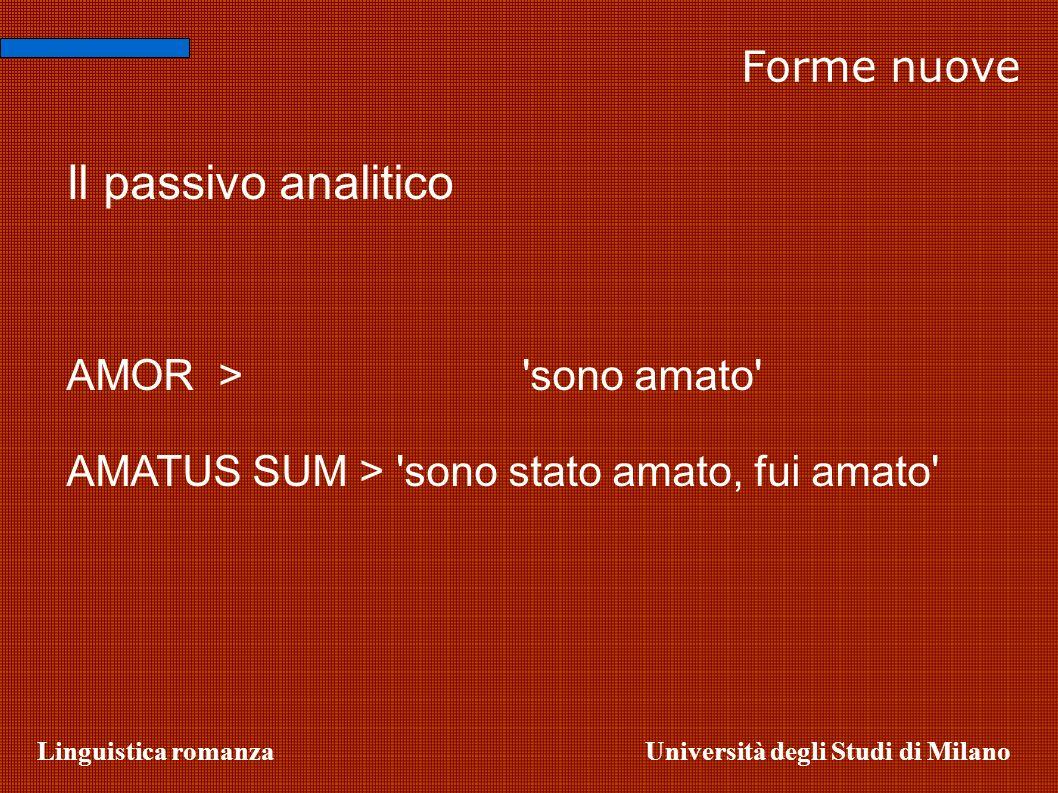 Il passivo analitico Forme nuove AMOR > sono amato