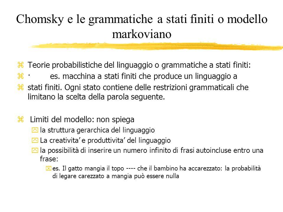 Chomsky e le grammatiche a stati finiti o modello markoviano