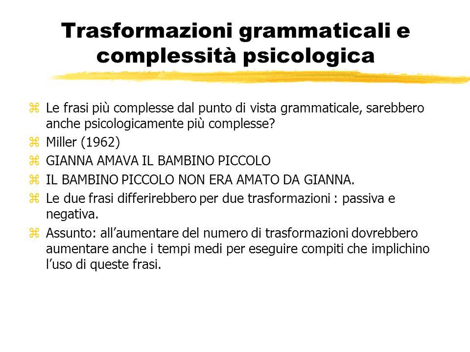 Trasformazioni grammaticali e complessità psicologica