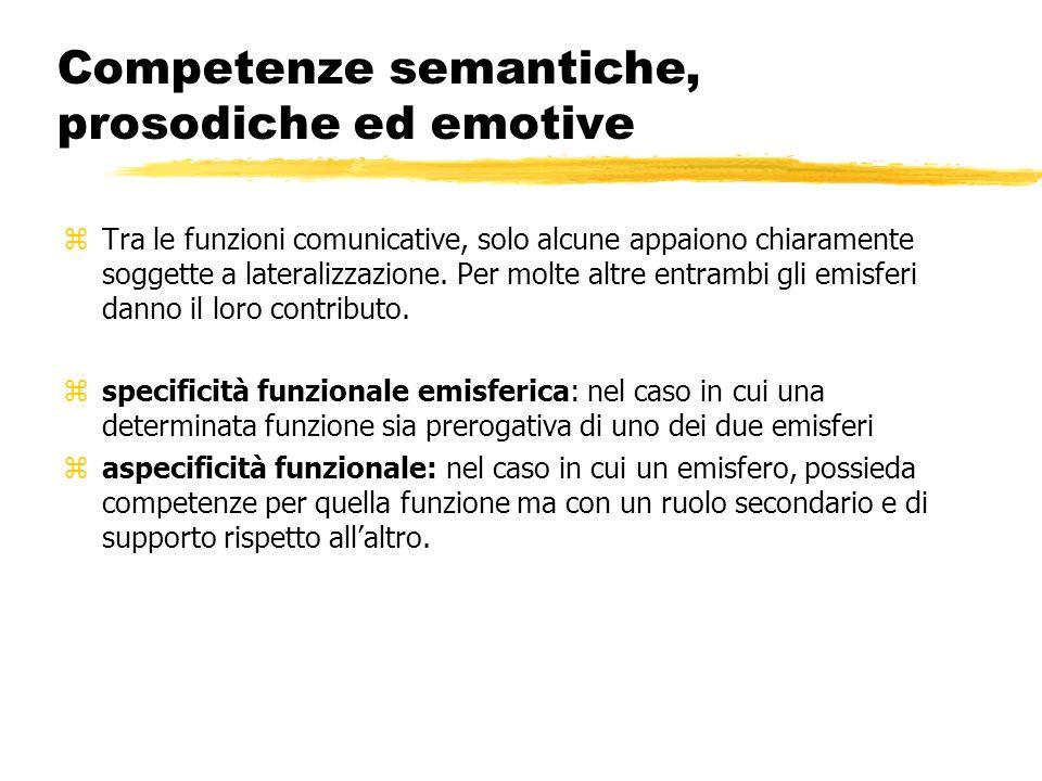 Competenze semantiche, prosodiche ed emotive