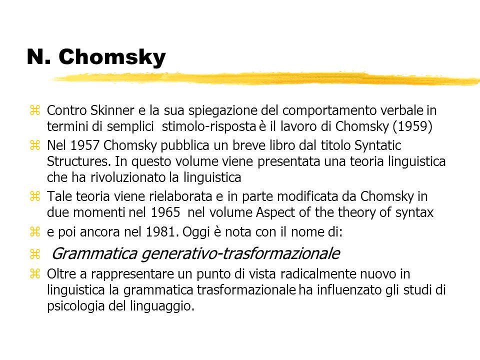 N. ChomskyContro Skinner e la sua spiegazione del comportamento verbale in termini di semplici stimolo-risposta è il lavoro di Chomsky (1959)