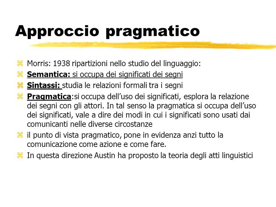 Approccio pragmatico Morris: 1938 ripartizioni nello studio del linguaggio: Semantica: si occupa dei significati dei segni.