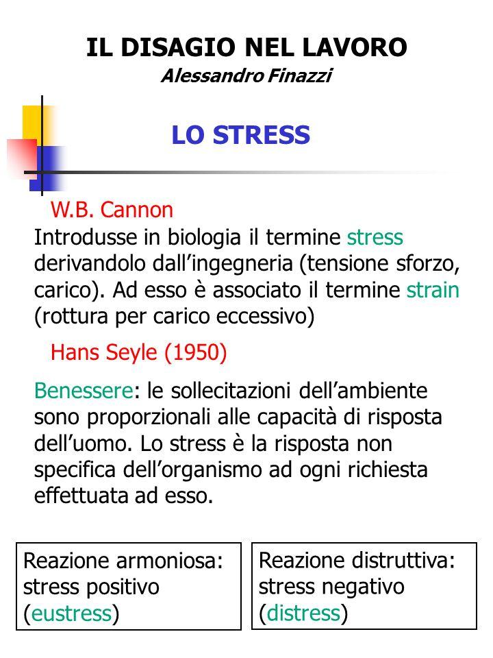 IL DISAGIO NEL LAVORO LO STRESS W.B. Cannon