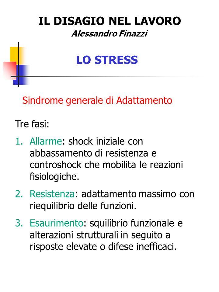 IL DISAGIO NEL LAVORO LO STRESS Sindrome generale di Adattamento