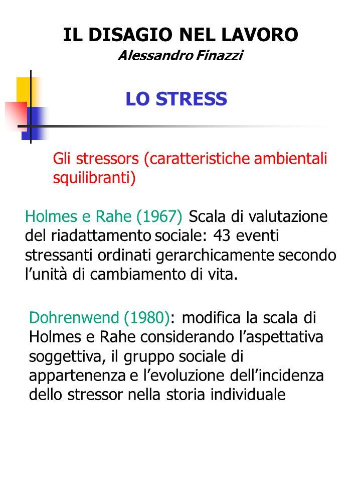 IL DISAGIO NEL LAVORO LO STRESS