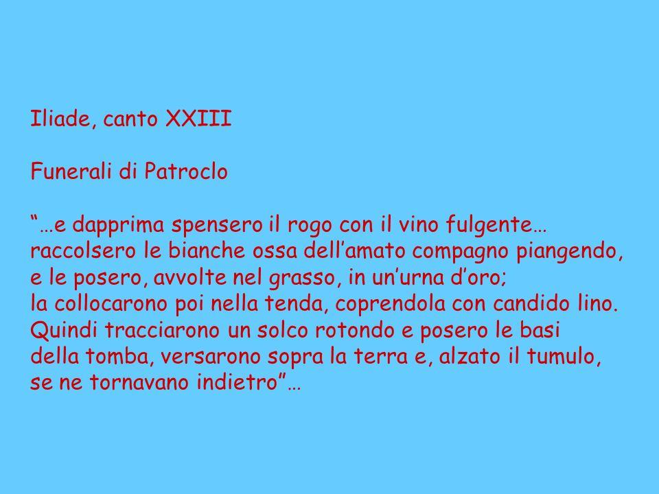Iliade, canto XXIII Funerali di Patroclo. …e dapprima spensero il rogo con il vino fulgente…