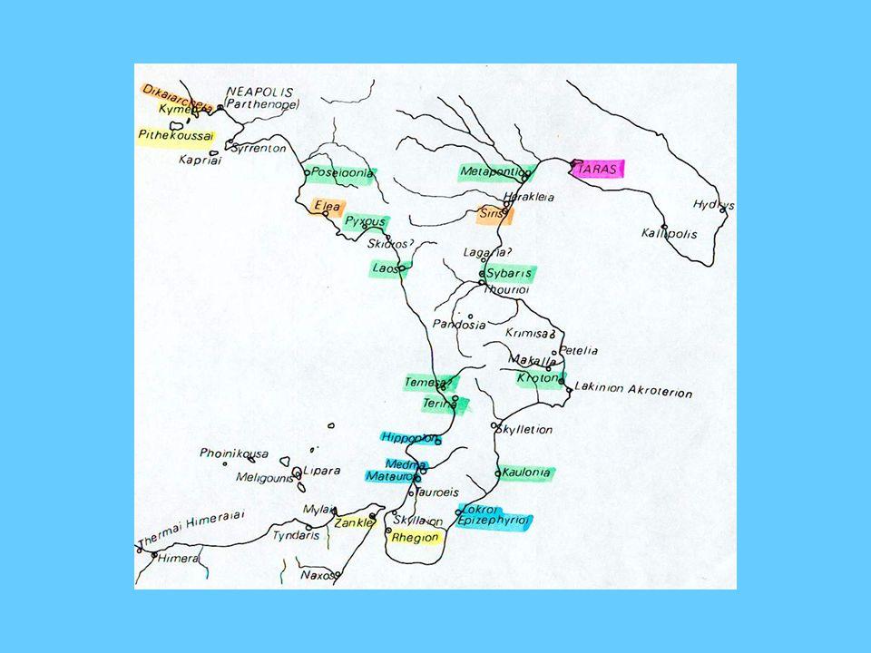 In verde le colonie achee e le loro sottocolonie; in giallo le colonie euboiche; in blu Locri (dalla Locride) e le sue sottocolonie; in viola, Taranto, unica colonia laconica; in arancione le colonie ioniche