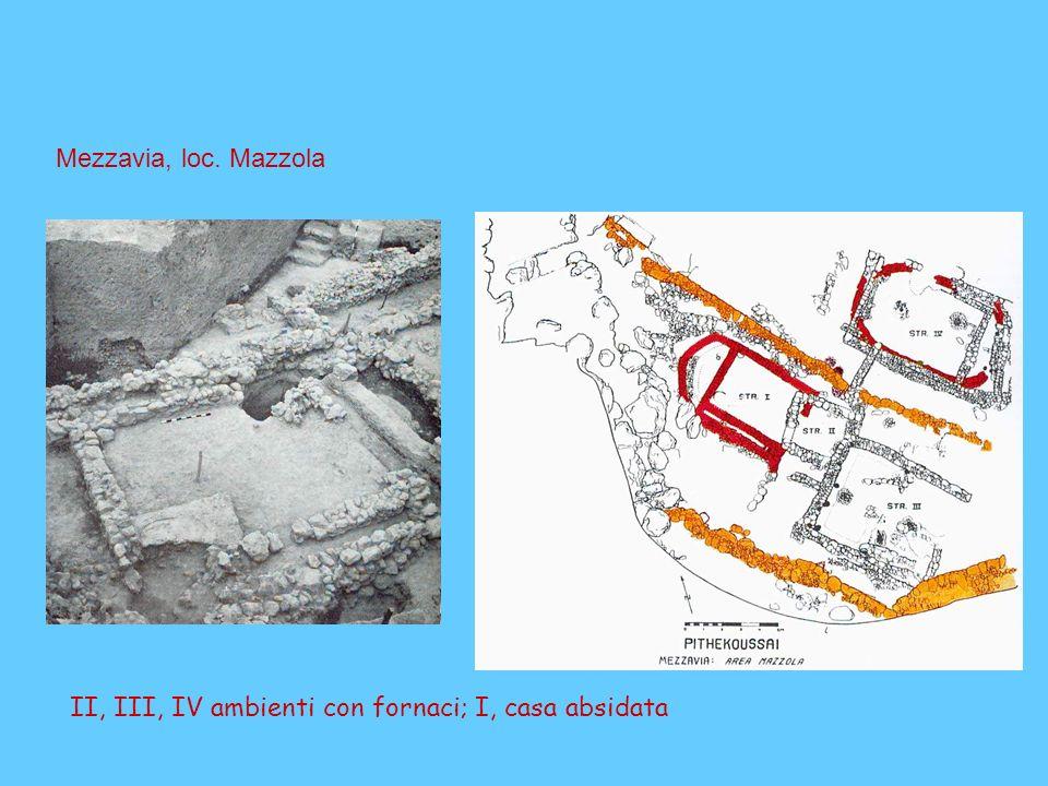 II, III, IV ambienti con fornaci; I, casa absidata