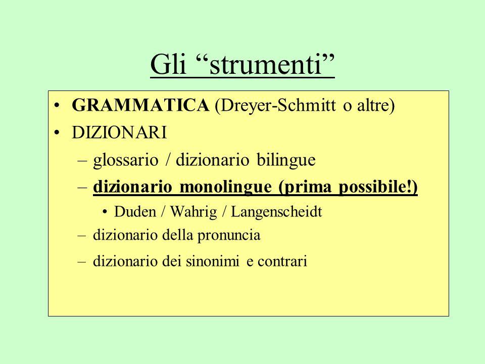 Gli strumenti GRAMMATICA (Dreyer-Schmitt o altre) DIZIONARI