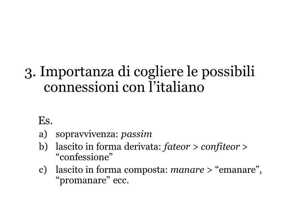 3. Importanza di cogliere le possibili connessioni con l'italiano