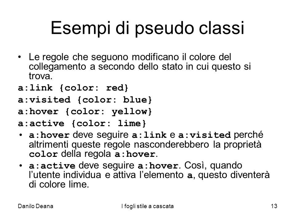 Esempi di pseudo classi