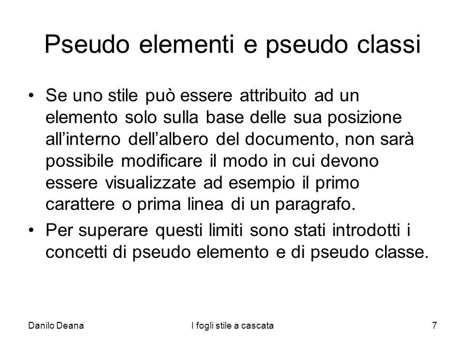 Pseudo elementi e pseudo classi