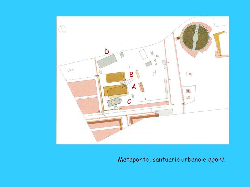 D B A C Metaponto, santuario urbano e agorà