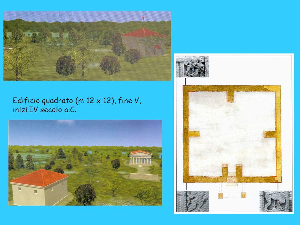 Edificio quadrato (m 12 x 12), fine V,