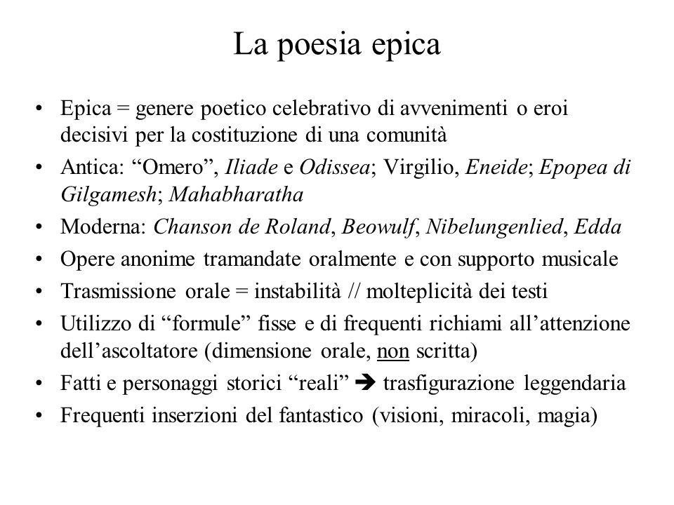 La poesia epica Epica = genere poetico celebrativo di avvenimenti o eroi decisivi per la costituzione di una comunità.
