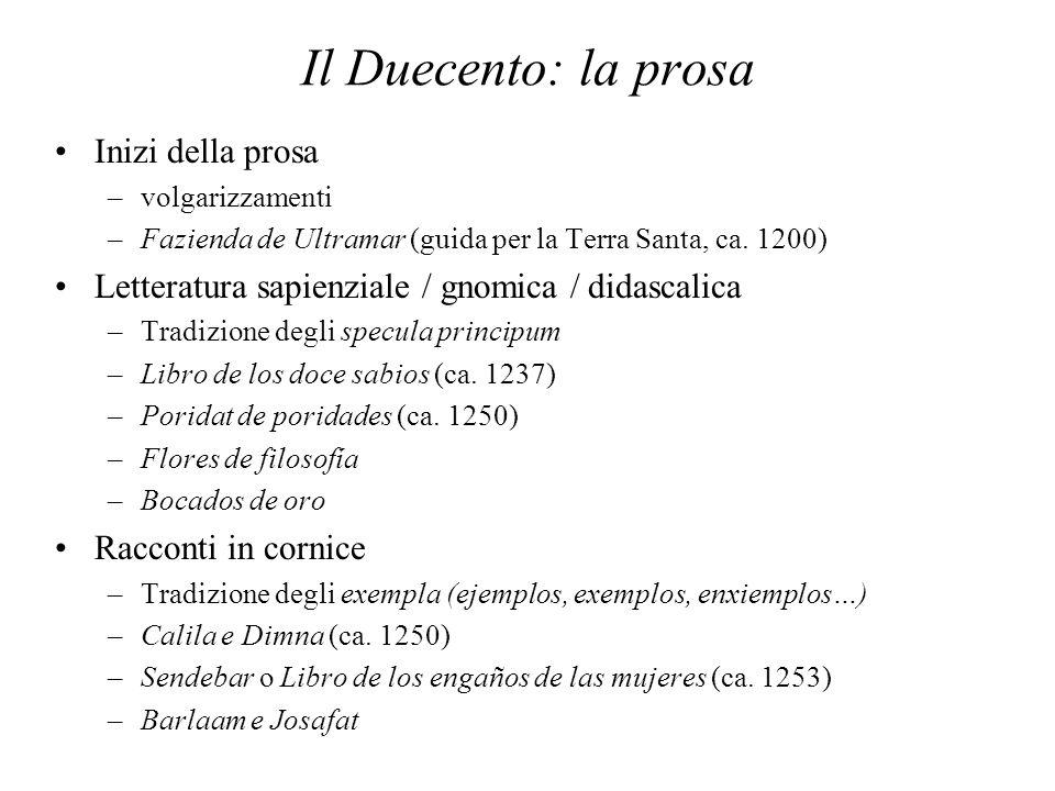 Il Duecento: la prosa Inizi della prosa