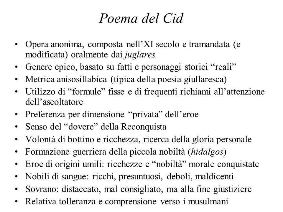 Poema del Cid Opera anonima, composta nell'XI secolo e tramandata (e modificata) oralmente dai juglares.