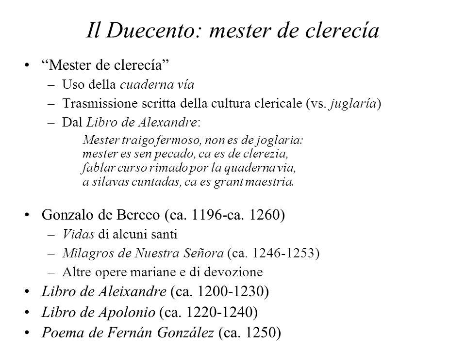 Il Duecento: mester de clerecía