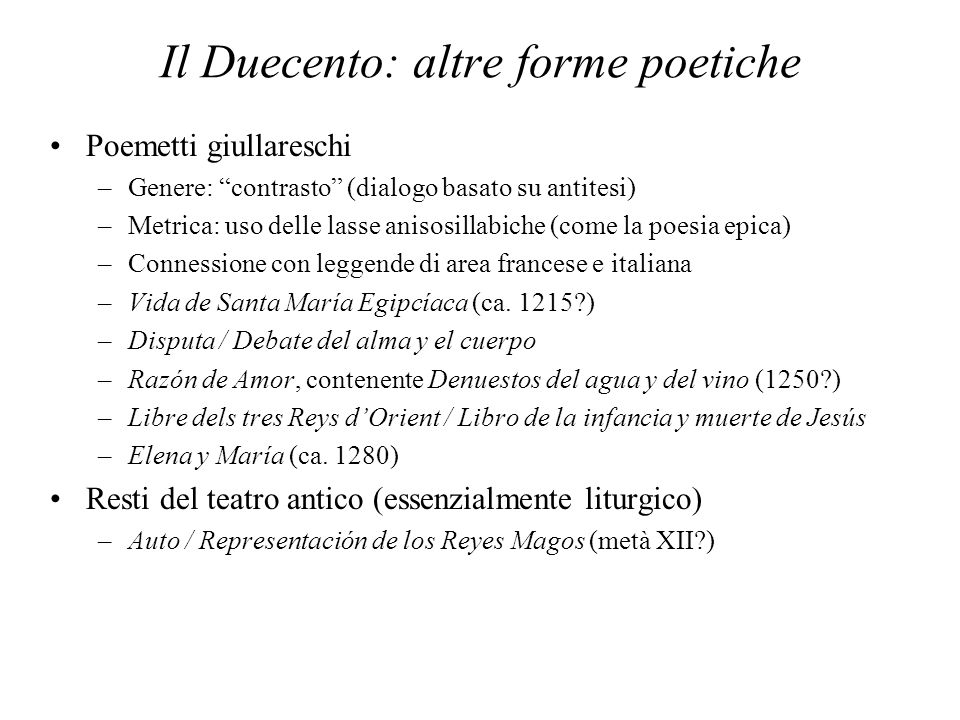 Il Duecento: altre forme poetiche