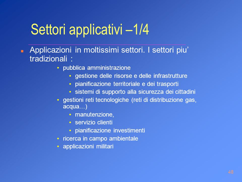 Settori applicativi –1/4