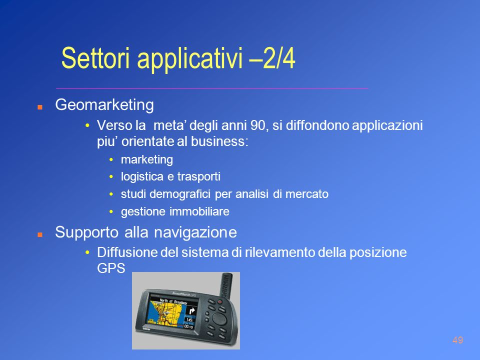 Settori applicativi –2/4