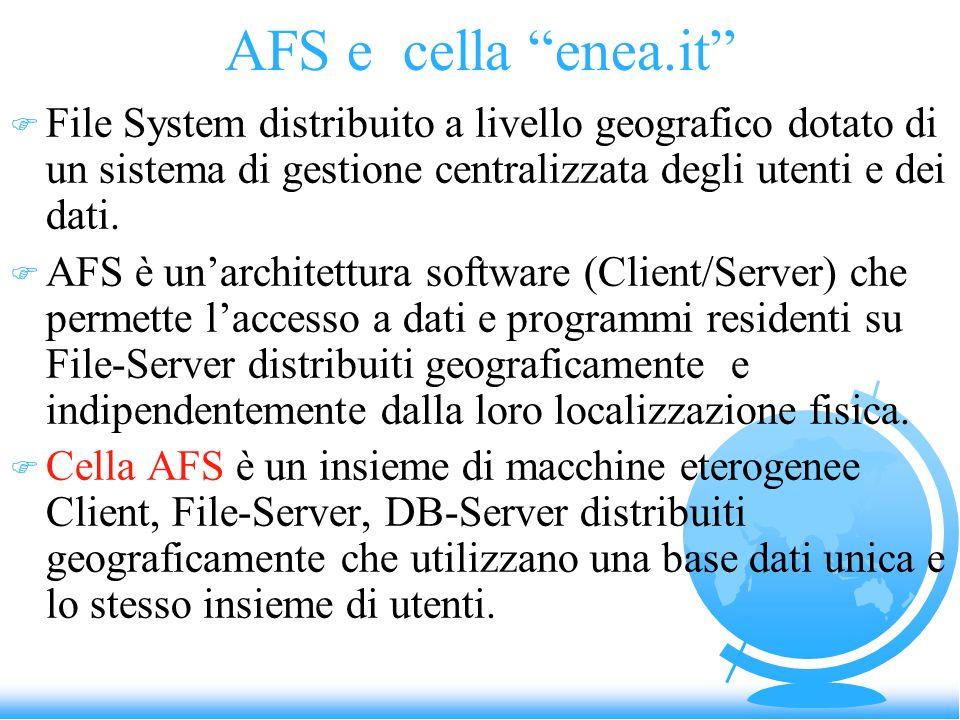 AFS e cella enea.it File System distribuito a livello geografico dotato di un sistema di gestione centralizzata degli utenti e dei dati.