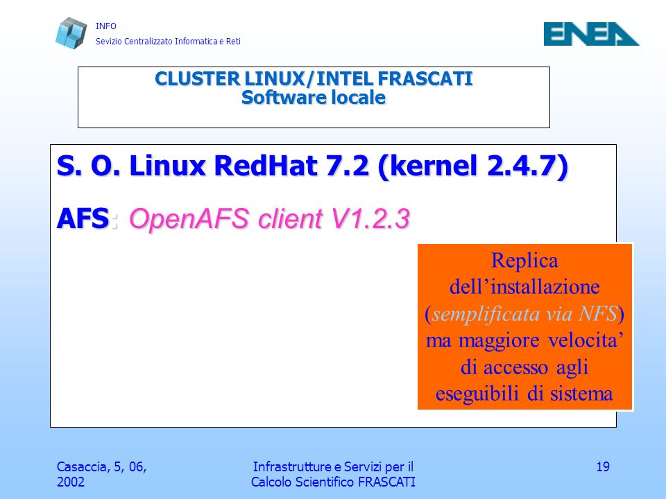 CLUSTER LINUX/INTEL FRASCATI Software locale