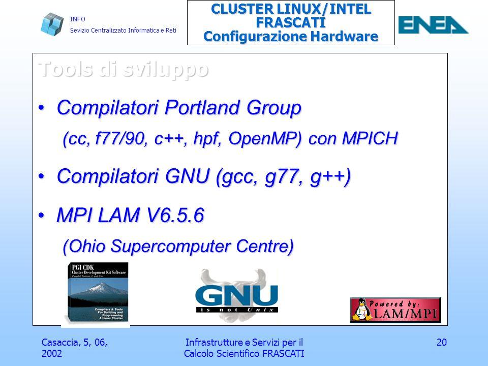 CLUSTER LINUX/INTEL FRASCATI Configurazione Hardware